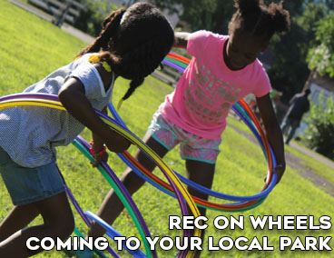 Decorative Image for Spotlight on Rec on Wheels, Girls playing with hula hoops