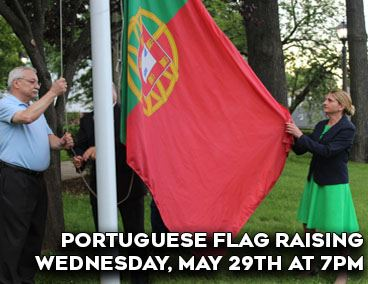 Spotlight on portuguese flag raising