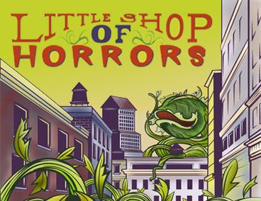 Image of Little Shop of Horrors Plant over buildings
